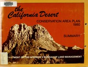 Cover of: The California Desert Conservation Area Plan, 1980