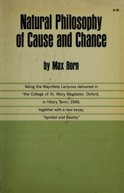 Cover of: Natural philosophy of cause and chance