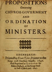 Cover of: Propositions concerning church goverment and ordination of ministers