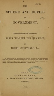 Cover of: The sphere and duties of government
