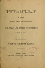 "Cover of: ""Party and patronage"""