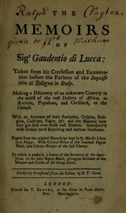 Cover of: The memoirs of Sigr Gaudentio di Lucca