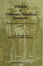 Cover of: Index to California Historical Quarterly | Anna Marie Hager