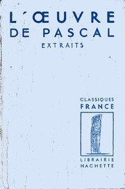 Cover of: L' oeuvre de Pascal: extraits