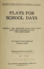 Cover of: Plays for school days | Florence R. Signor