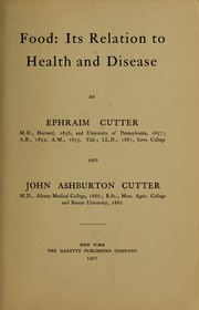Cover of: Food: its relation to health and disease