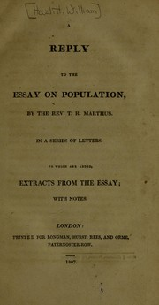 Cover of: A reply to the essay on population: by the Rev. T. R. Malthus.  In a series of letters ...