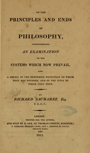 Cover of: On the principles and ends of philosophy | Richard Saumarez