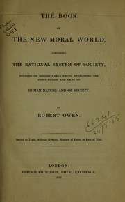 Cover of: The book of the new moral world