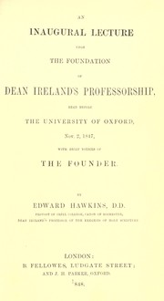 Cover of: An inaugural lecture upon the foundation of Dean Ireland's professorship