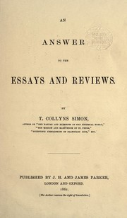 Cover of: An answer to the Essays and reviews | Thomas Collins Simon
