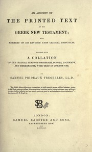Cover of: An account of the printed text of the Greek New Testament | Samuel Prideaux Tregelles