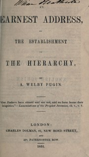 Cover of: An earnest address on the establishment of the hierarchy