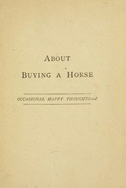 Cover of: About buying a horse, &c. &c
