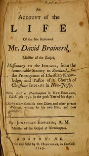 Cover of: An Account of the late Reverend Mr. David Brainerd
