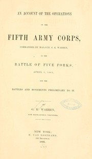 Cover of: An account of the operations of the Fifth army corps