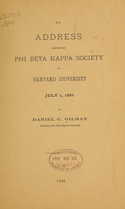Cover of: An address before the Phi beta kappa society of Harvard university