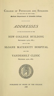 Cover of: Addresses at the inauguration of the new college building, September 29th, 1887