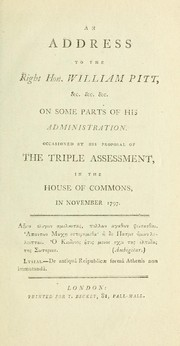 Cover of: An address to the Right Hon. William Pitt, &c. &c. &c. on some parts of his administration | Thomas James Mathias