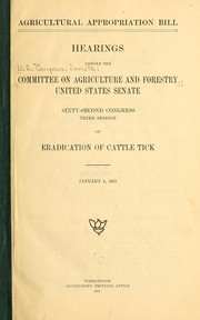 Cover of: Agricultural appropriation bill | United States. Congress. Senate. Committee on Agriculture and Forestry