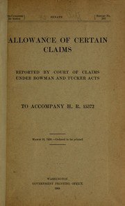 Cover of: Allowance of certain claims reported by Court of claims under Bowman and Tucker acts
