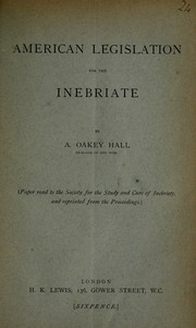 Cover of: American legislation for the inebriate