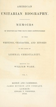 Cover of: American Unitarian biography