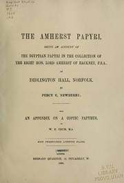Cover of: The Amherst papyri | Amherst, William Amhurst Tyssen-Amherst Baron