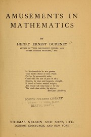 Cover of: Amusements in mathematics
