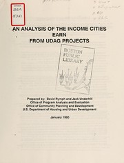 Cover of: An analysis of the income cities earn from udag projects