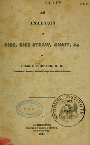 Cover of: An analysis of rice, rice straw, chaff, &c
