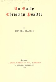 Cover of: An early Christian psalter
