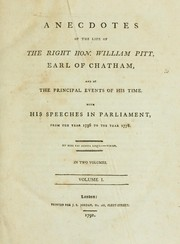 Cover of: Anecdotes of the life of the Right Hon. William Pitt, Earl of Chatham | Almon, John