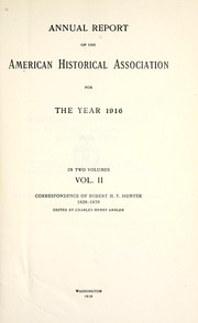 Cover of: Annual report of the American Historical Association for the year 1916