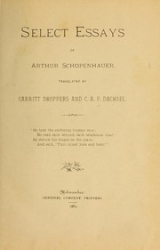 Cover of: Select essays of Arthur Schopenhauer | Arthur Schopenhauer