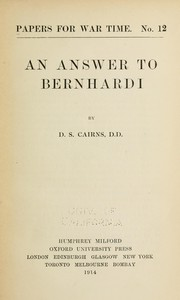 Cover of: An answer to Bernhardi