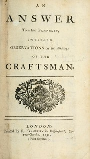 Cover of: An answer to a late pamphlet intitled Observations on the writings of the Craftsman | N. Amhurst