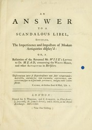 Cover of: An answer to a scandalous libel