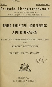 Cover of: Aphorismen | Georg Christoph Lichtenberg