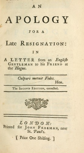 An apology for a late resignation in a letter from an English