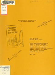 Cover of: Application for designation of the uphams corner card | Boston Redevelopment Authority