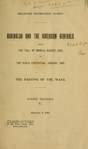 Cover of: Aguinaldo and the American generals