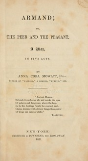 Cover of: Armand, or, The peer and the peasant