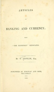 Cover of: Articles on banking and currency