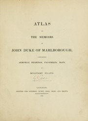 Cover of: Atlas to the Memoirs of John, duke of Marlborough
