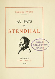 Cover of: Au pays de Stendhal