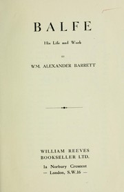 Cover of: Balfe | William Alexander Barrett