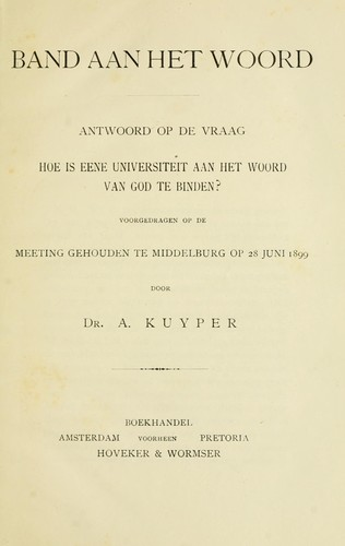 Band aan het woord by Abraham Kuyper