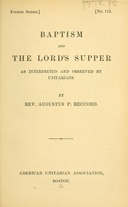 Cover of: Baptism and the Lord's Supper
