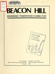 Beacon hill neighborhood transportation planning study by Boston Traffic and Parking Dept.